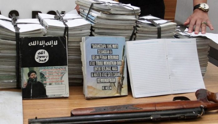 Seized islamic state material indonesia