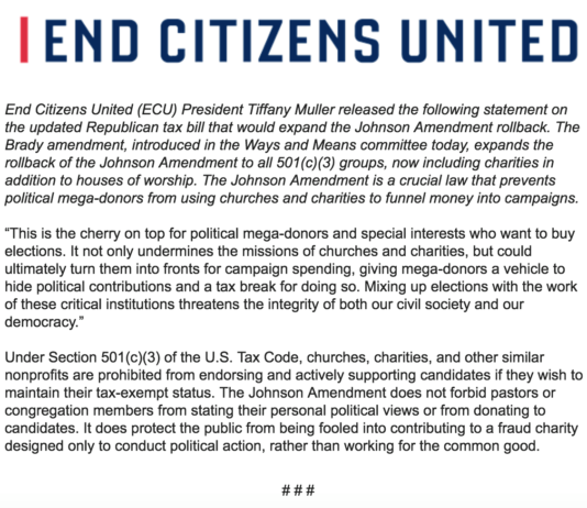 End Citizens United Fights to Save the Johnson Amendment